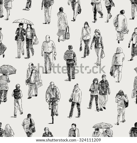 pattern of the pedestrians - stock vector