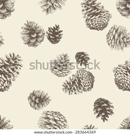 pattern of the pine cones - stock vector