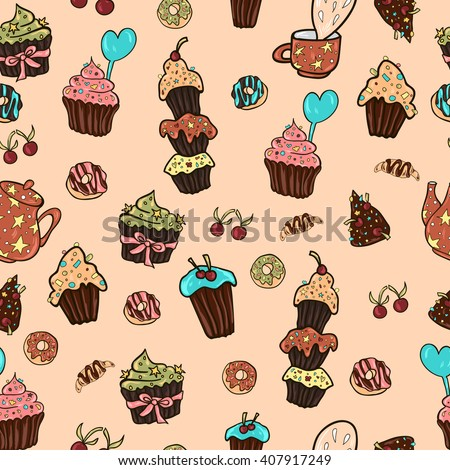 Pattern of vector hand drawn  sweets and donuts