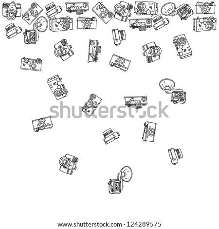 pattern of vintage cameras - stock vector