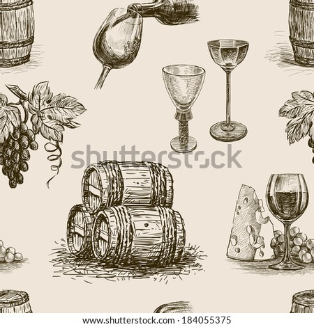 pattern of wine making - stock vector