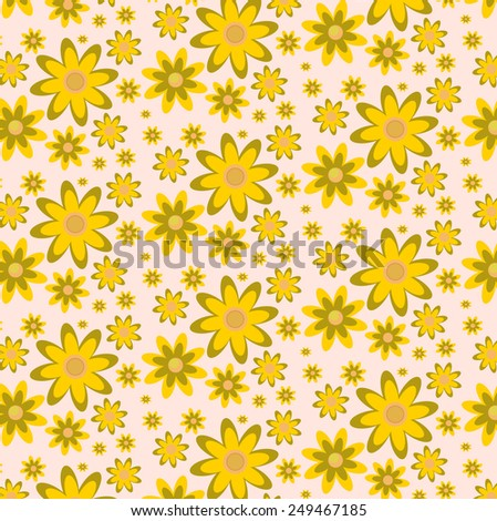 Pattern of yellow - brown flowers on pink background. Flower texture. - stock vector