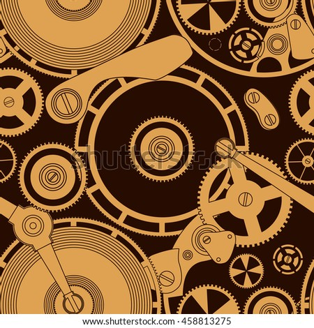 Pattern on the theme of the Time. Gold mechanism on the black.