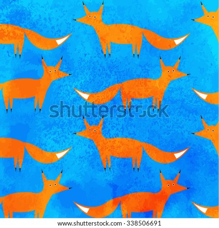Pattern orange fox on a blue background