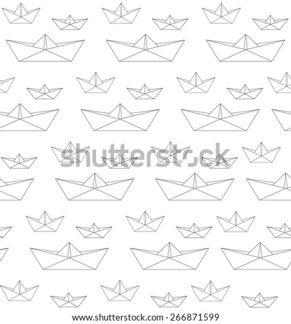 Pattern paper boat white black