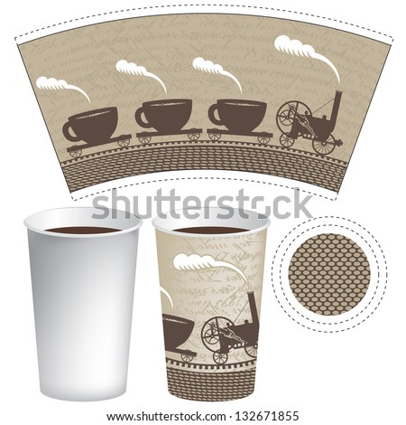 pattern paper cup of tea or coffee with an old steam locomotive - stock vector