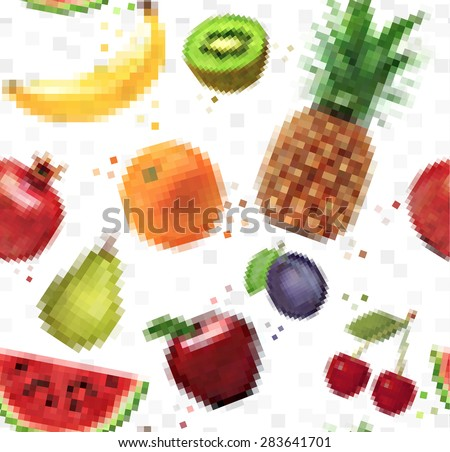 Pattern pixel fruits pineapple, pear, apple, grapes, kiwi, watermelon, plum, banana, pomegranate, cherry, orange, apple drawing on  white background - stock vector