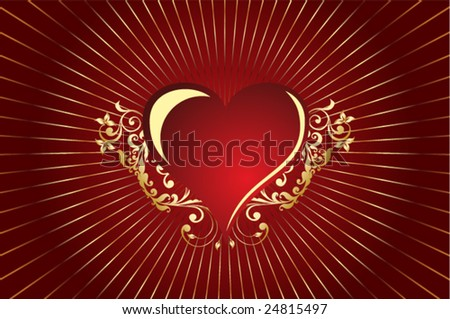 Pattern red heart - stock vector
