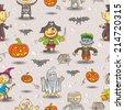 Pattern seamless Halloween kids - stock vector