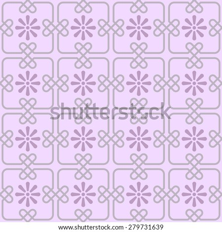 Pattern - Seamless pattern with square tiles joined by knots in hart shape and stylized flowers in pink. Repeating geometrical abstract background inspired by the portuguese pavement. Editable vector. - stock vector