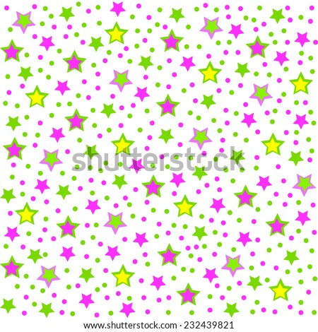 pattern,seamless with colorful stars on a white background, vector - stock vector
