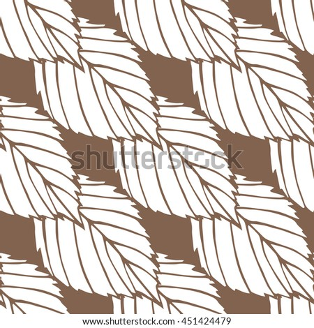 Pattern. The leaves on solid background. Seamless texture. Suitable for packaging, labels, business cards, Wallpaper and fabrics. White and brown.