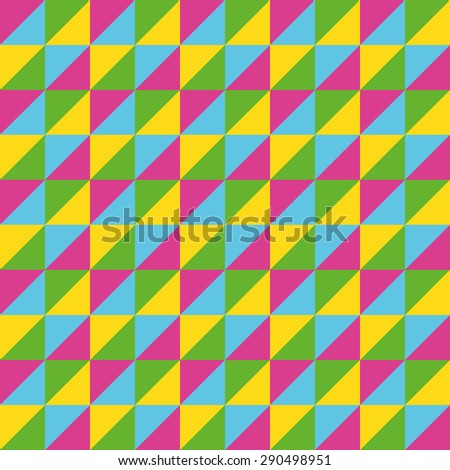 Pattern Vector Seamless Polygon Triangle pink yellow blue for different purchase - stock vector