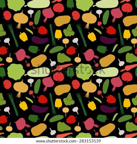 pattern vegetable background. Vegetables fresh seamless pattern. Vector illustration  - stock vector
