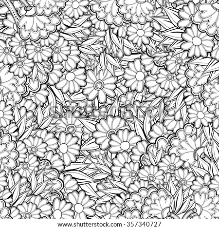 pattern with abstract flowers coloring book page for adult - Flower Coloring Books For Adults