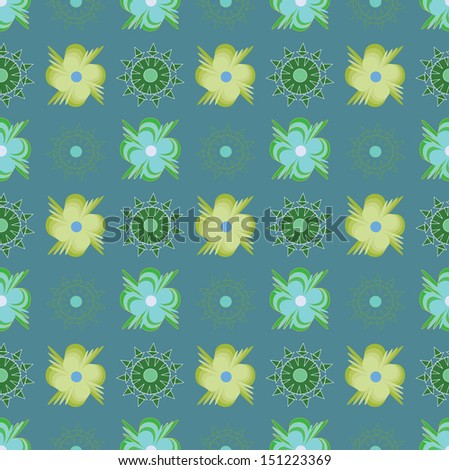 Pattern with abstract green flowers on blue background. - stock vector