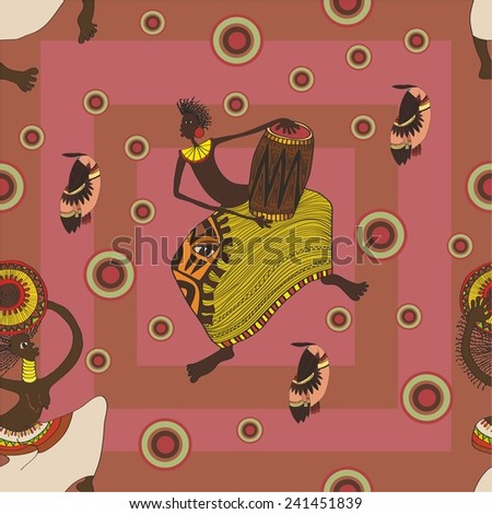 pattern with African dancers. vector