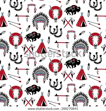 Pattern with American Indians - stock vector