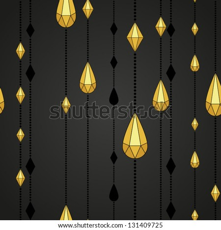 Pattern with beads and crystals Retro Christmas pattern - stock vector