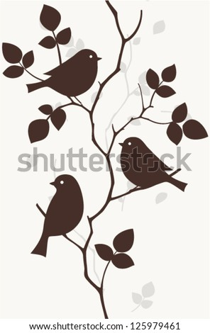 Pattern with birds seamless - stock vector
