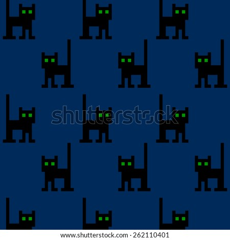 Pattern with black pixel cat. - stock vector