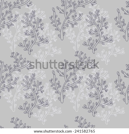 Pattern with blooming sprig on a gray background. Print for curtains, fabric and etc. - stock vector