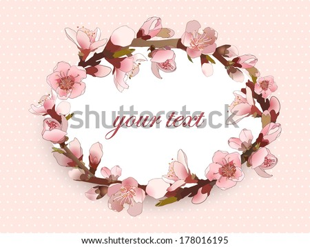 Pattern with blossoming almond branch with pink flowers. Realistic vector illustration - stock vector