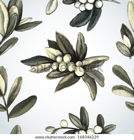 Pattern with branches of mistletoe. For fabric, wrapping paper, print and web projects.