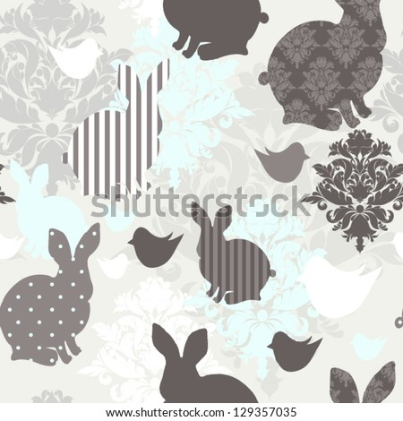 Pattern with bunnies and rocking horses Seamless easter background - stock vector