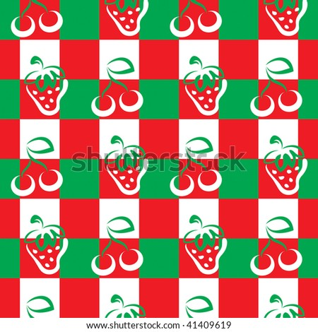 Pattern with cherries and strawberries in red and green.