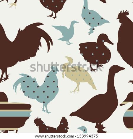 Pattern with chicken, goose, duck, turkey Retro seamless pattern - stock vector
