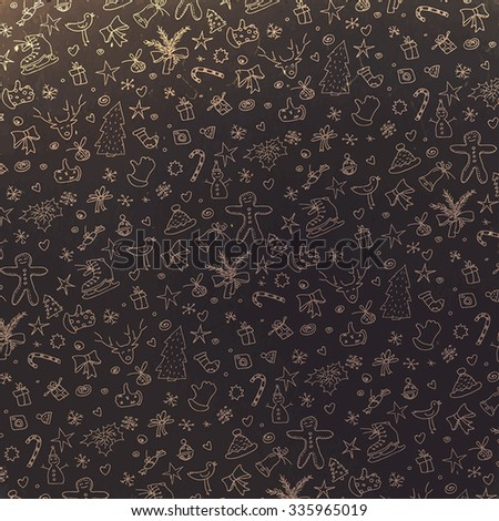 Pattern with Christmas elements. Retro styled - stock vector
