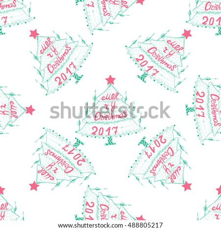 Pattern christmas greetings sketch freehand drawing stock vector pattern with christmas greetings sketch freehand drawing ink fir tree with hand letters vector 2017 m4hsunfo