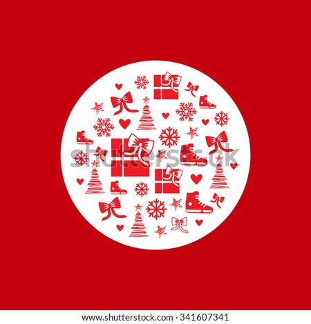Pattern with Christmas symbols: skating, snowflakes, mittens, gifts, bows, hearts and hand-drawn Christmas tree and stars in a round shape. Circle Christmas pattern. - stock vector