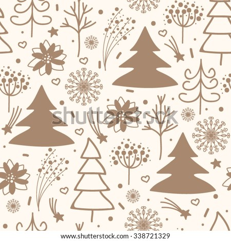 Pattern with Christmas tree, star and snowflakes. - stock vector