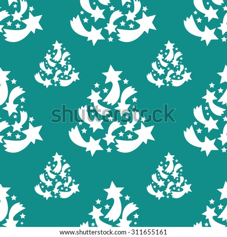 Pattern with christmas trees on the green background / Christmas pattern background trees - stock vector