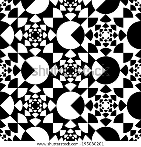 Pattern with circle black and white - stock vector