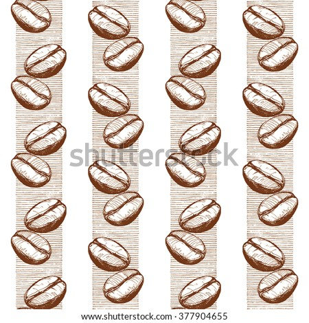 pattern with coffee beans, coffee beans, coffee, sketch of coffee beans, vector drawing - stock vector