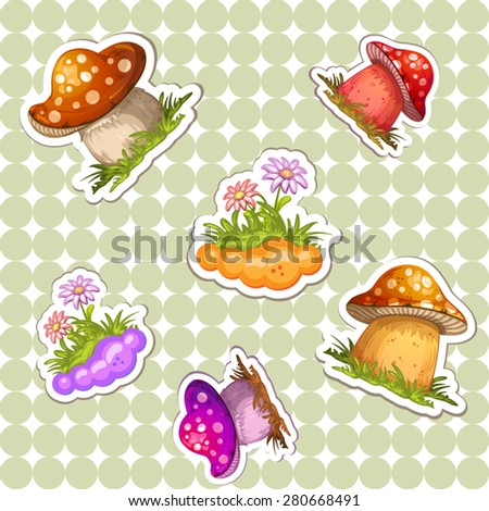 Pattern with colored  mushroom - stock vector