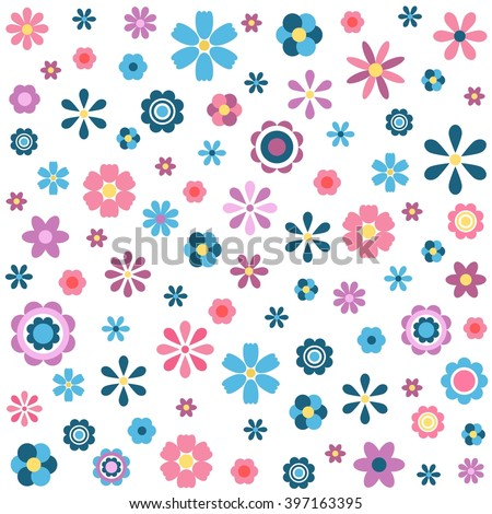 pattern with colorful flowers - stock vector