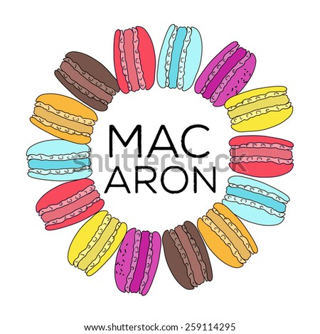 Pattern with colorful macaroon cookies on white. Vector illustration. - stock vector