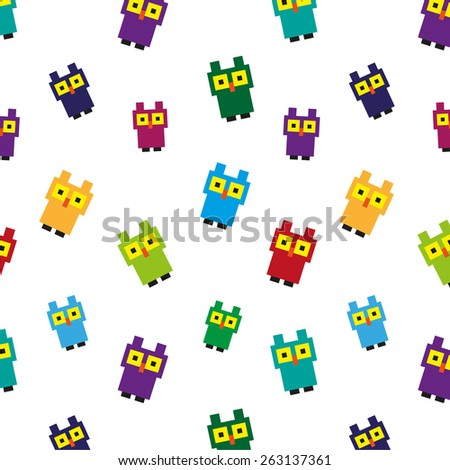 Pattern with colorful pixel owl. - stock vector