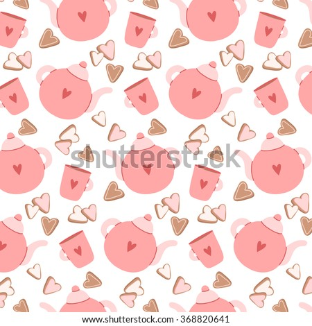 pattern with cute cartoon teapot, cup and cookies on white background. can be used for valentine's day greeting cards, party invitations, textile, wrapping paper - stock vector