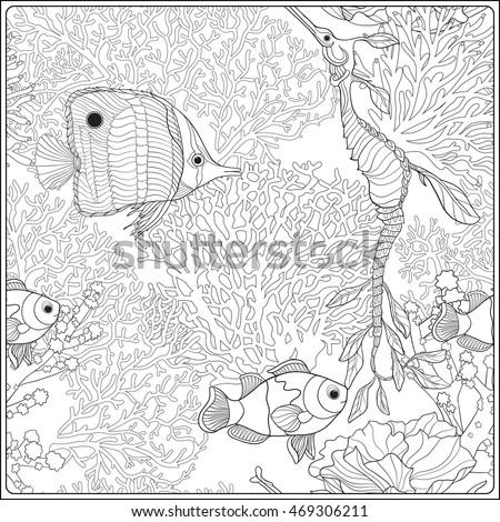 Stylized Cartoon Underwater Composition Turtle Tortoise Stock Vector 519169867