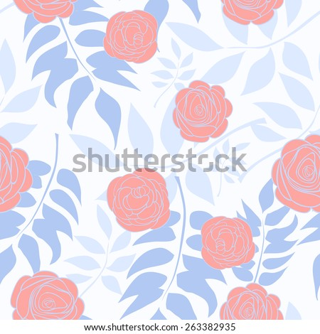 Pattern With Delicate Roses On A Background Of Blue Leaves. Vector illustration - stock vector