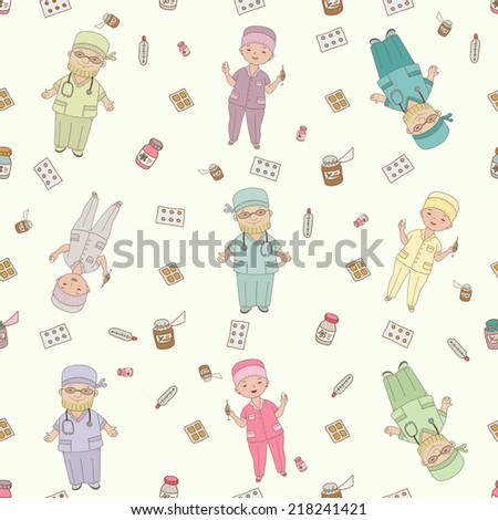 Pattern with doctors and nurses - stock vector