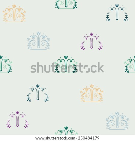 Pattern with east ornament on a light background - stock vector