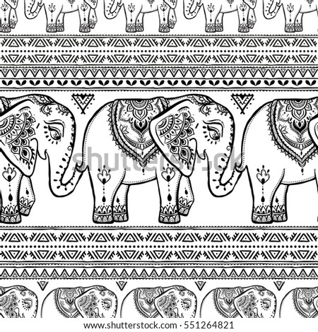 Pattern Elephant Mandala Frame Animal Made Stock Vector HD (Royalty ...