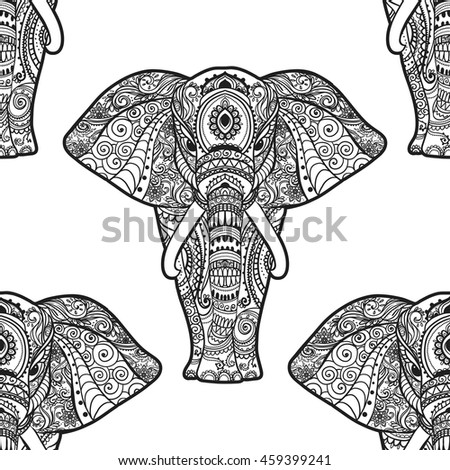 Pattern with Elephant. Frame of animal made in vector. Illustration for design, textiles.  - stock vector