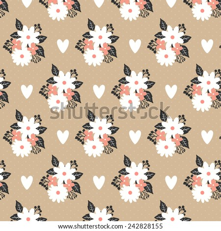 pattern with flowers, leaves and hearts on craft paper background. can be used like pattern for wrapping paper or for wedding invitations or greeting cards - stock vector